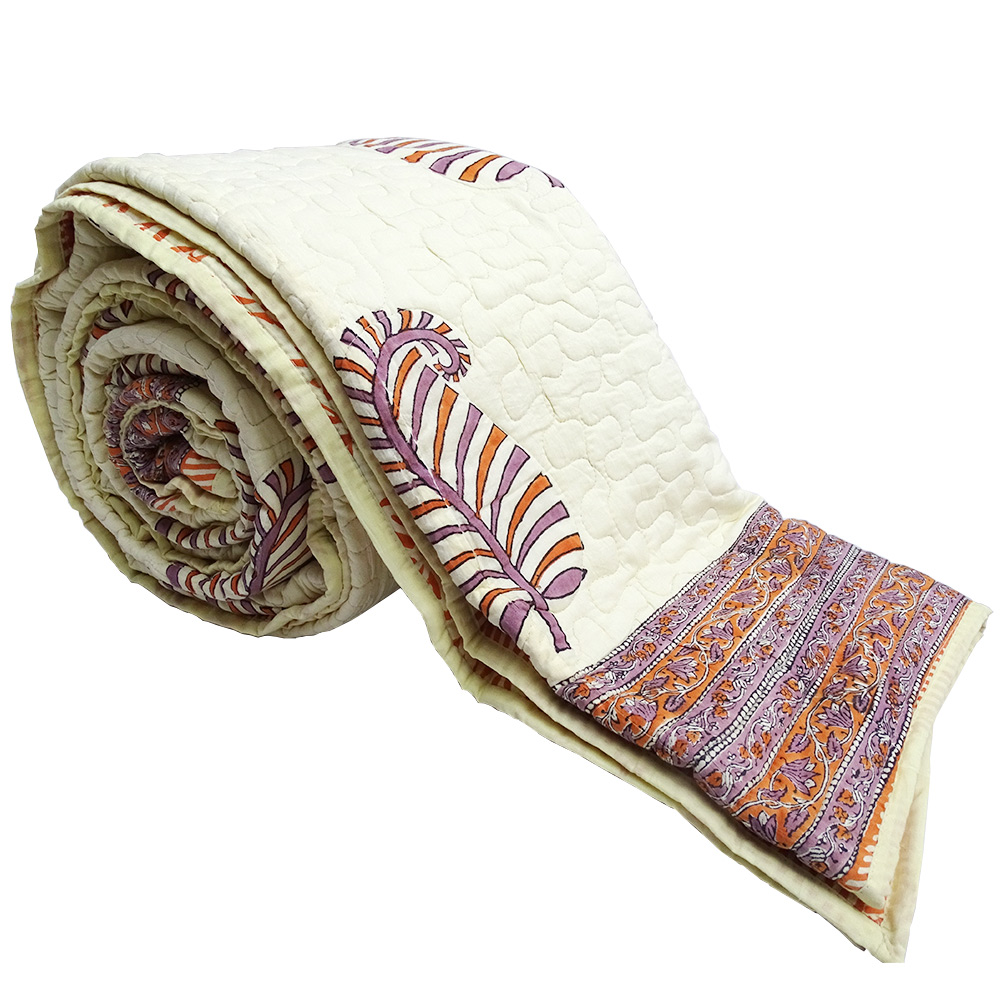 100% Cotton Paisley Printed Off White King Size Quilt