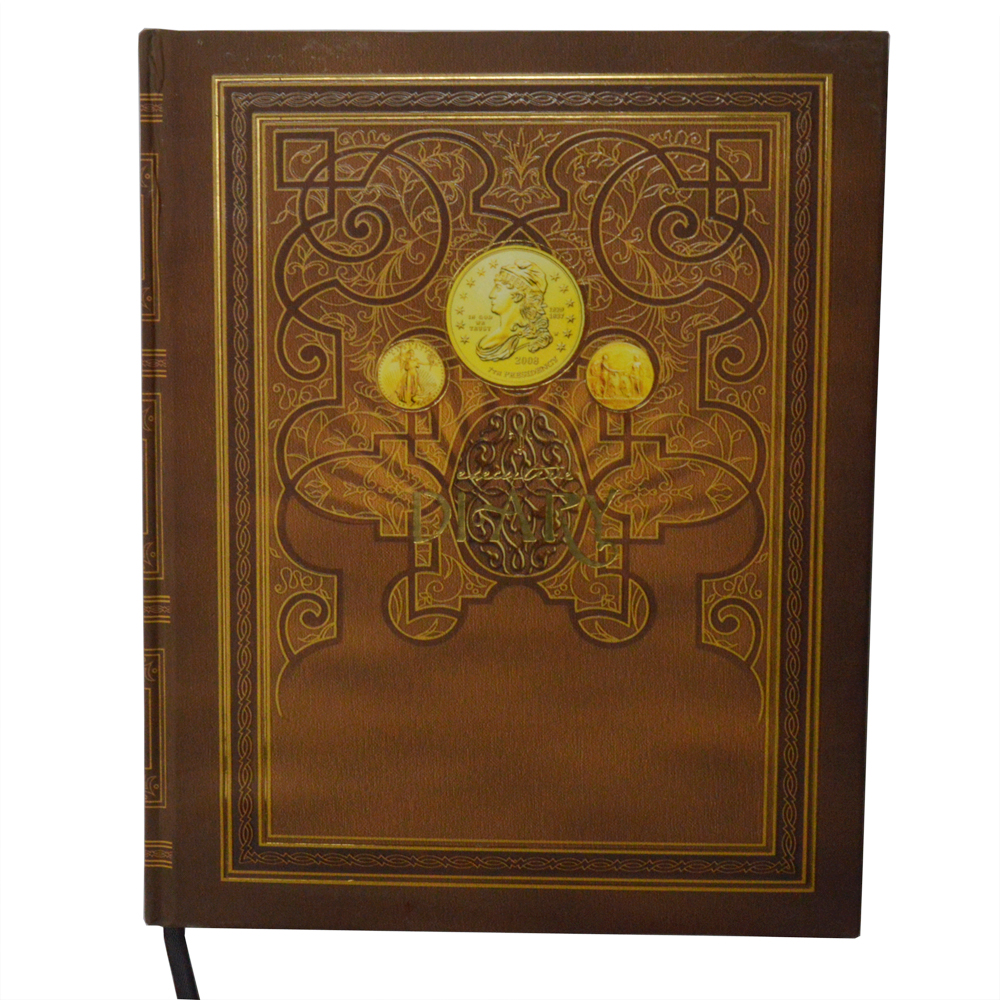 Brown hard cover business diary