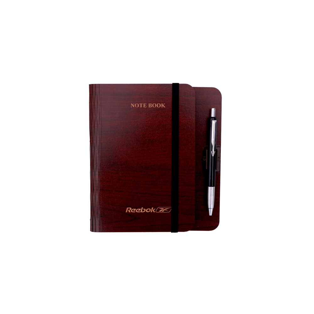 Desk wooden note book with ball pen