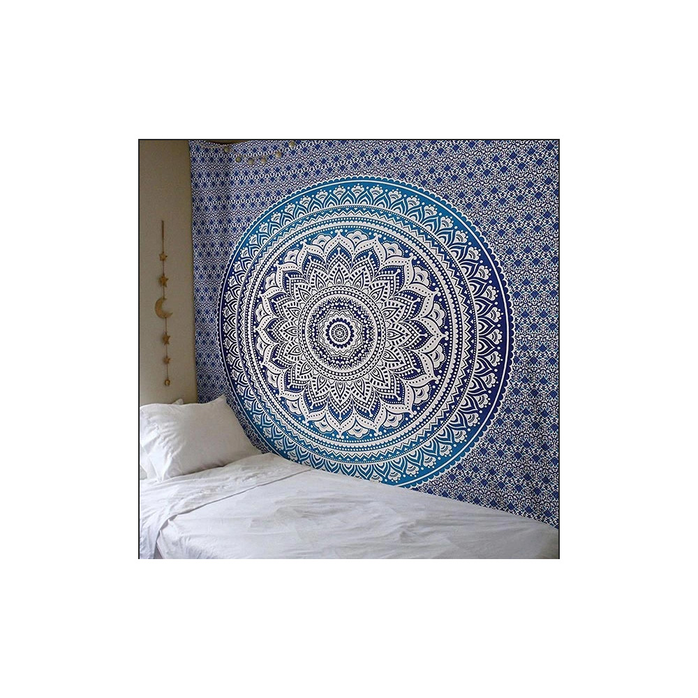 Ethnic 100% Cotton Blue Mandala Tapestry Wall Hanging For Sale