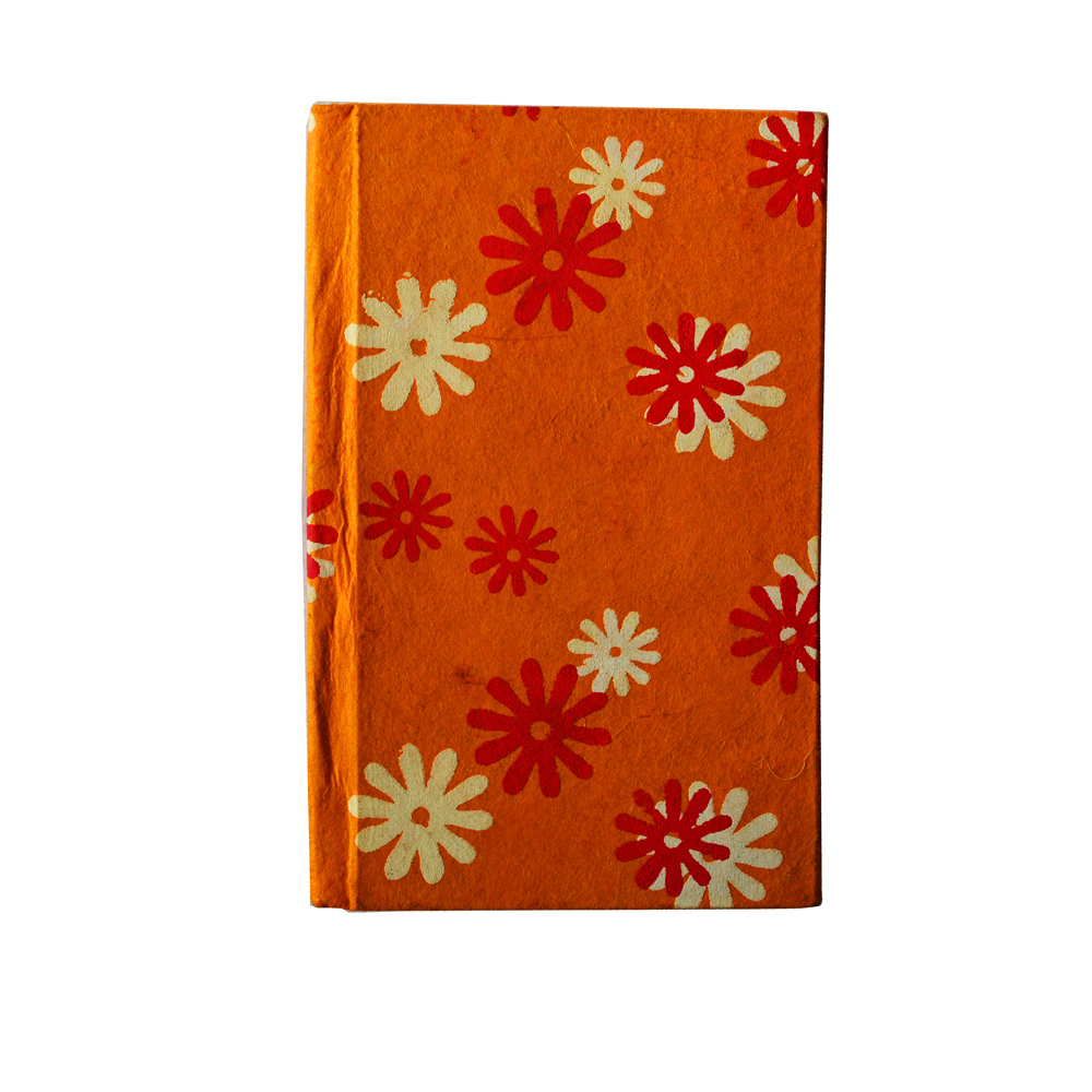 Handmade diary with floral print in orange base