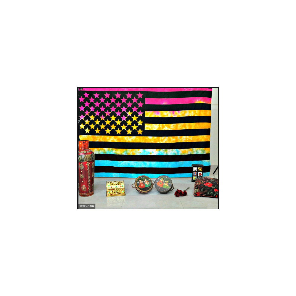 Handmade USA Flag Multicolored Naptoal Tapestry Wall Hanging