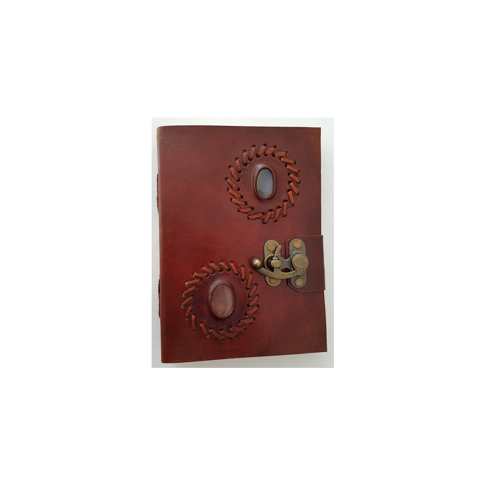 Leather Notebook With Stone  and  Lock