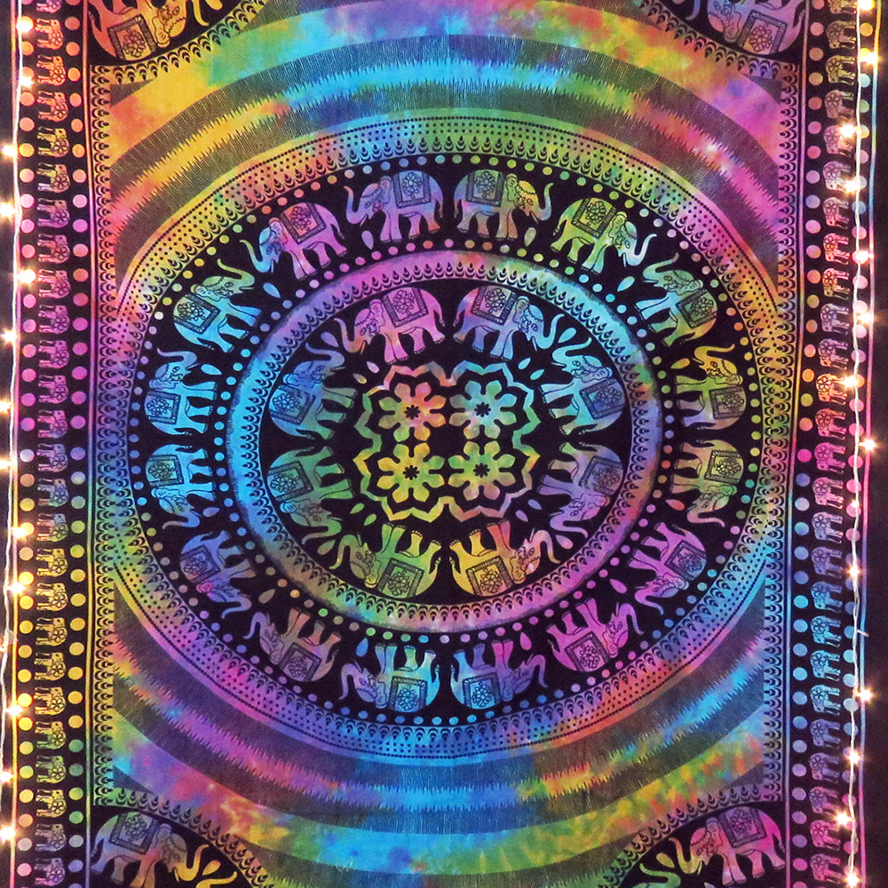 Multicolored Elephant Printed Mandala Tapestry Online For Sale