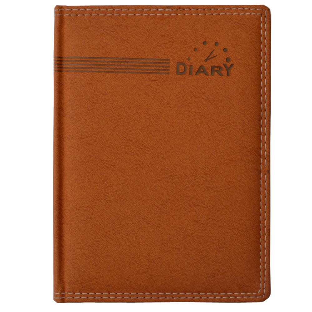 Simple brown executive diary with clock diagram