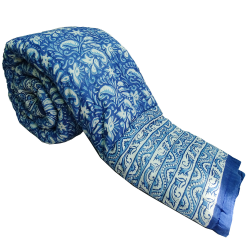100% Cotton Made Fully Reversible Blue Hand Block Print Quilt