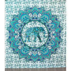 Gorgeous Elephant Printed Queen Blue Wall Hanging Tapestry Online