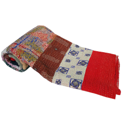 Handmade  and  Colorful Vintage Patchwork Kantha Throw Blanket