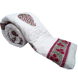 Handmade Paisley Print Cotton Double Bed White Quilt