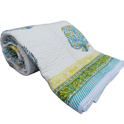 Indian Floral Double Bed Cotton Quilt Online For Winter